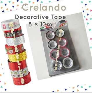 Crelando Decorative Tape 聖誕包裝/裝飾 膠紙卷 8×10M (Grey)