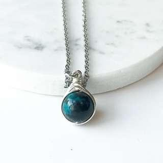 P Chrysocolla herringbone wire wrapped stainless steel necklace