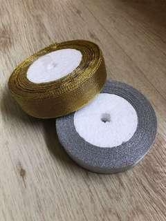 [Sale!] 2cm Gold and silver glittery ribbon