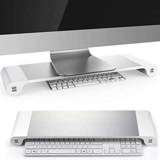 P12 . Kernorv Laptop Monitor Stand Space Bar Computer Monitor Riser, Multi-function Aluminum desk organizer with 4 USB Ports for PC/TV