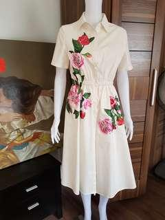 White dress with florals