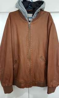 Leather Hooded Jacket Mens /Brown