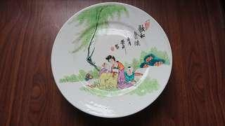 Vintage Handpainted Chinese Footed Ceramic Plate