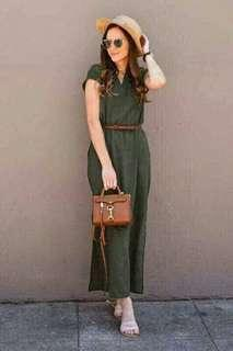 😊Maxi plain dress w belt