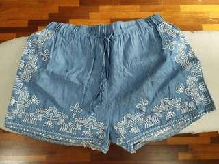 High Waist Embroidery Bohemian Shorts