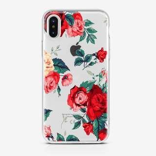 Red Floral Clear Case Iphone 5 5s se 6 6 Plus 7 7 Plus 8 x
