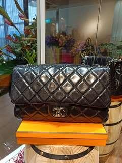Chanel Compartment black disstress leather#20