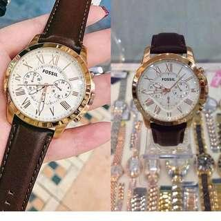 🚚 [Christmas Special SALE] Fossil FS4991 Grant Cream Dial Brown Leather Analog Chronograph Men Casual Watch