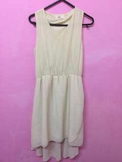 Cream long back dress