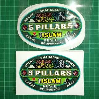 5 Pillars of Islam - Car Decal and Sticker Combo. $10 only with Free Normal Mail. Shahadah. Solat. Sawm. Zakat. Hajj. Rukun Islam.