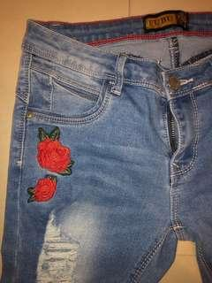 low rise jeans with flowers