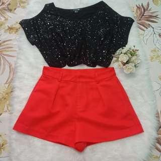🌿Bundle Set Forever 21 Sequins top&shorts