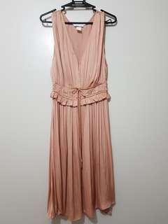 H&M blush satin dress