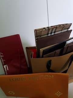 Branded Paper Bags (Burberry, LV, ferragamo, coach, mont blonc, Tory burch, bally)