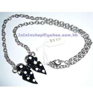 包郵 全新全場獨家 購自日本 型格超值 可愛 設計獨特 吊飾 連 頸鏈 黑色蝴蝶結 SIZE:全長42cm