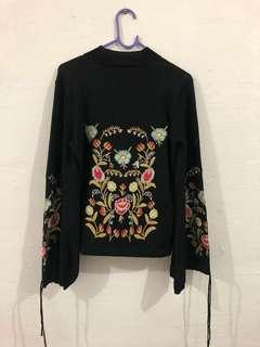 ZAFUL Floral Embroidered Long Sleeve Sweater
