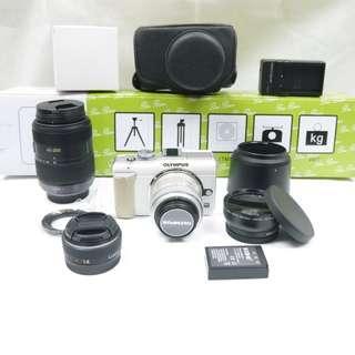 送順豐櫃 1機4鏡頭 Olympus Pen EPL1 E-PL1 白色無反相機 14-42mm2代 銀色變焦鏡頭 Panasonic 14mm超廣角定焦 45-200mm長焦鏡 日本微距廣角鏡