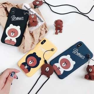 Brown Bear Hoodies Phone Case with Stand and Lanyard