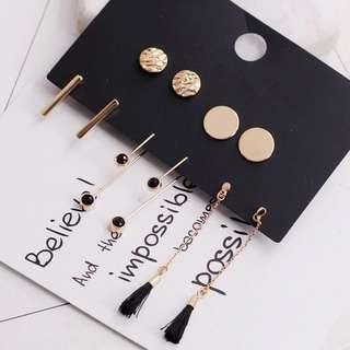 🚚 BN 5 Pairs Korean Gold Earrings Set
