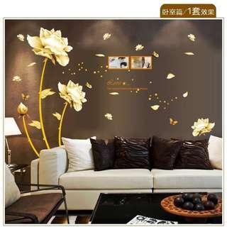 🚚 165X145cm golden flower photo frame wall decal sticker