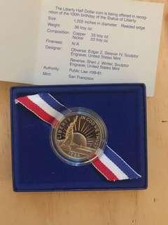 Liberty Half Dollar Coin 1886-1986, commemorating 100yrs of Statue of Liberty