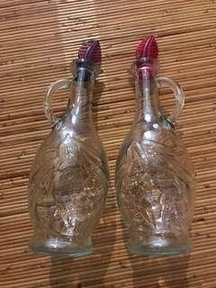 2 Clear Glass bottle