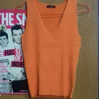 Orange Sleeveless Knit Top