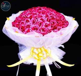 "33 Stalks 24K ""Gold Foil Plated"" Rose-Pink Roses Bouquet 