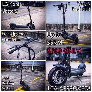 48V 800W 13Ah LG Korea Cell E-Scooter (Up to 55KM)