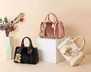 Rabbit fur handbag fur bag