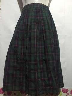 Green Plaid Midi Skirt