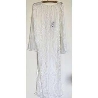 NWOT H&M Size 10 (US 6 on label) Sheer white lace maxi