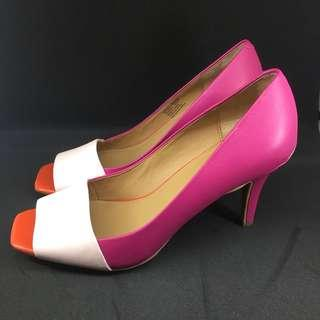 Calvin Klein Colorblock Leather Peeptoe Pumps in pink