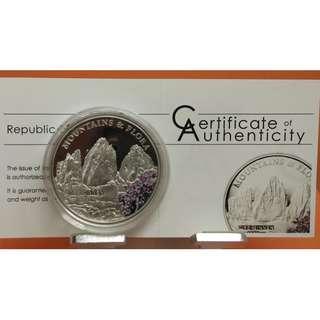 """(特價不議)2012年帛琉共和國(Palau) 山嶽及植物群系列 """"Drei Zinnen""""20克精制彩色銀幣 (附原證)"""