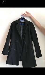 黑色中長西裝外套 韓國女裝大衣coat