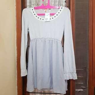 dress natal cantik abu putih kaos aksen korea