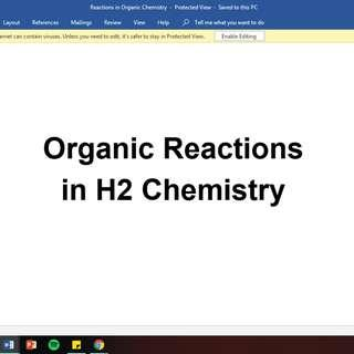 🚚 H2 Chemistry Organic Chemistry Reactions (ALL reactions, all functional groups)