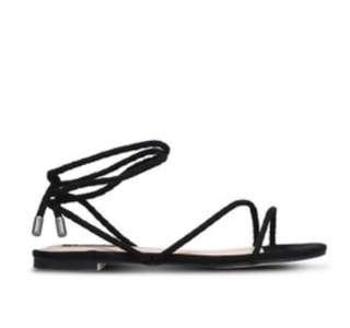 BNIB authentic Zalora Braid Tie Up Sandals in Black