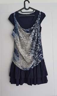 Mini Dress biru motif macan bisa jadi atasan blouse cantik navy blue ruffle kaos