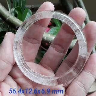 Clear crystal bangle(白水晶 手镯). Size: 56.4x12.6x6.9 mm