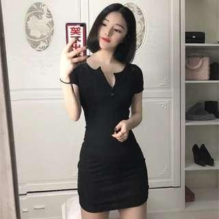 INSTOCK: BLACK RIBBED BUTTON UP HENLEY MINI BODYCON DRESS