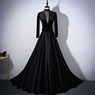 Gown Collection - High Collar Midi Sexy Long Sleeves Velvet Black Gown With Tail