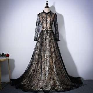 Gown Collection - Mystery Slightly Sexy Black Lace Long Sleeves Gown