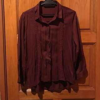 Blouse Long Sleeve Maroon Good Quality