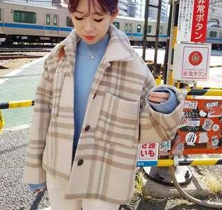 🚚 韓國栗子釦格紋羊毛短大衣