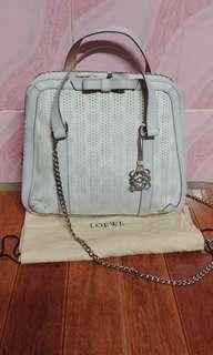 Loewe perforated canvas with bow top handle bag