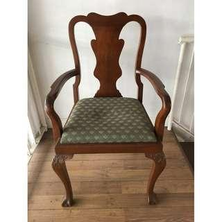 A Pair of Georgian Style Teak Wood Dining Arm Chairs