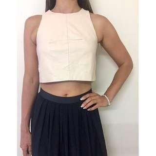 SHEIKE Cream Leather Knit Back Fitted Crop Top Sz AU 8