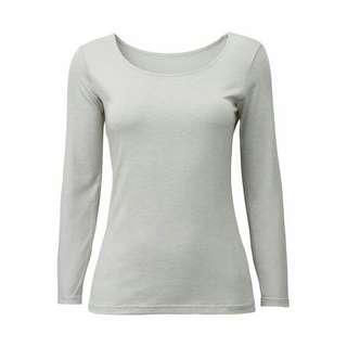 UNIQLO Heattech Scoopneck Long Sleeve (Gray S)