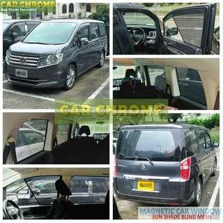 本田 Honda Stepwgn RF RG RK RP 專用全車磁石版本窗網 一套7件: 包括: 前窗 x 2、中門 x 2、尾窗 x 2、尾門窗 x 1 (MAGNETIC CAR WINDOW SUN SHADE BLIND MESH)